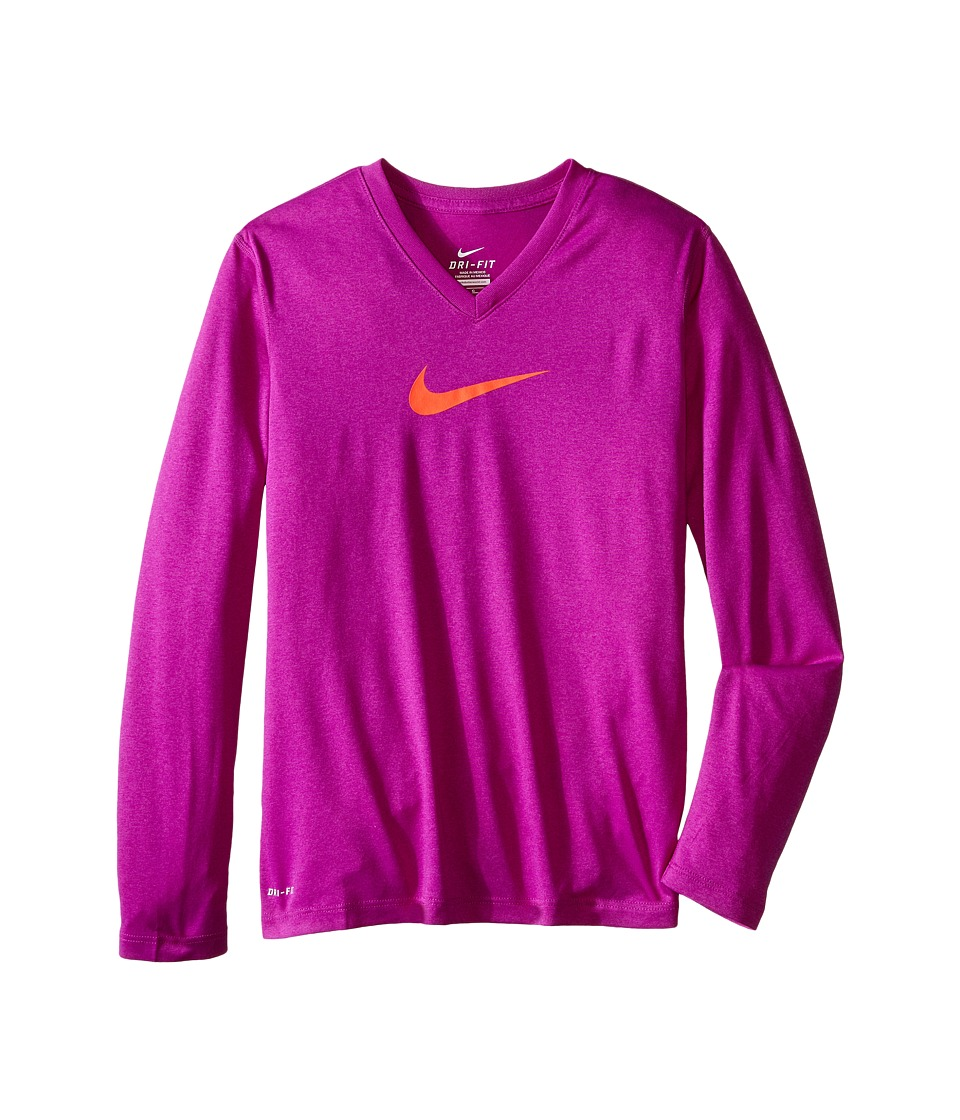 Nike Kids - Leg V-Neck Swoosh L/S Tee (Little Kids/Big Kids) (Vivid Purple/Vivid Purple/Bright Crimson) Girl's Long Sleeve Pullover