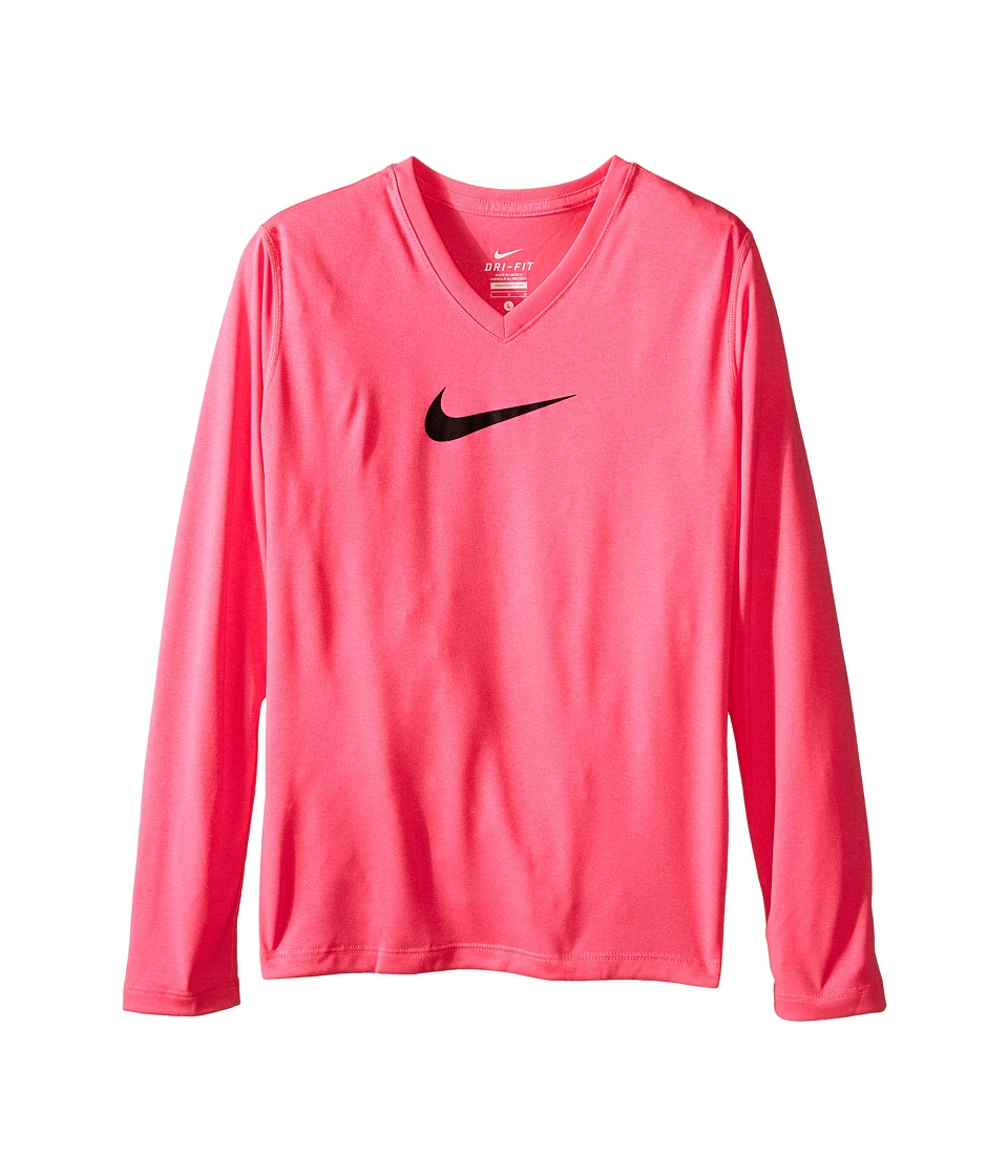 Nike Kids - Leg V-Neck Swoosh L/S Tee (Little Kids/Big Kids) (Pink Pow/Pink Pow/Black) Girl's Long Sleeve Pullover