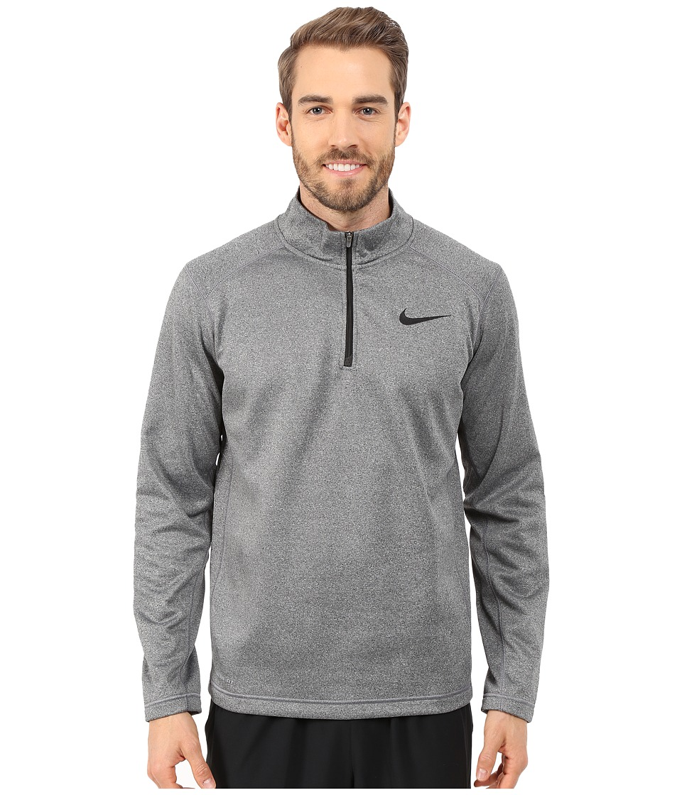 Nike - KO 1/4 Zip Top (Charcoal Heather/Charcoal Heather/Black) Men's Workout