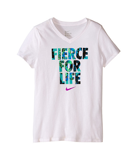 Nike Kids - Fierce For Life Tee (Big Kids) (White/White) Girl