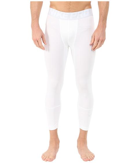 Nike - Hyperwarm Three Quarter Tights (White/Pure Platinum/Pure Platinum) Men