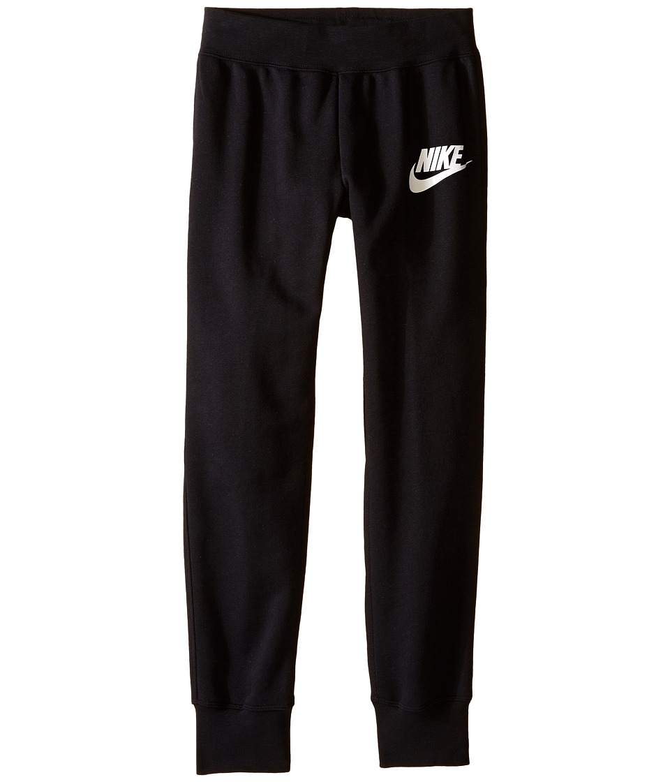 Nike Kids - N40 Semi-Brushed Cuffed Girls' Sweatpant (Little Kids/Big Kids) (Black/White) Girl's Workout