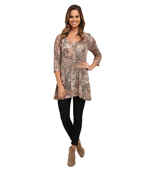 Nally & Millie - 3/4 Sleeve Striped Floral Tunic (Multi) Women's Clothing