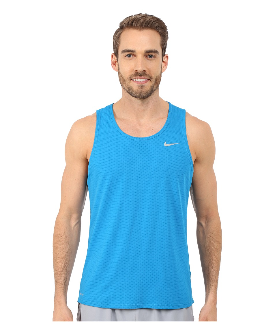 Nike Dri-FIT Contour Running Singlet Imperial Blue-Reflective Silver Mens Workout
