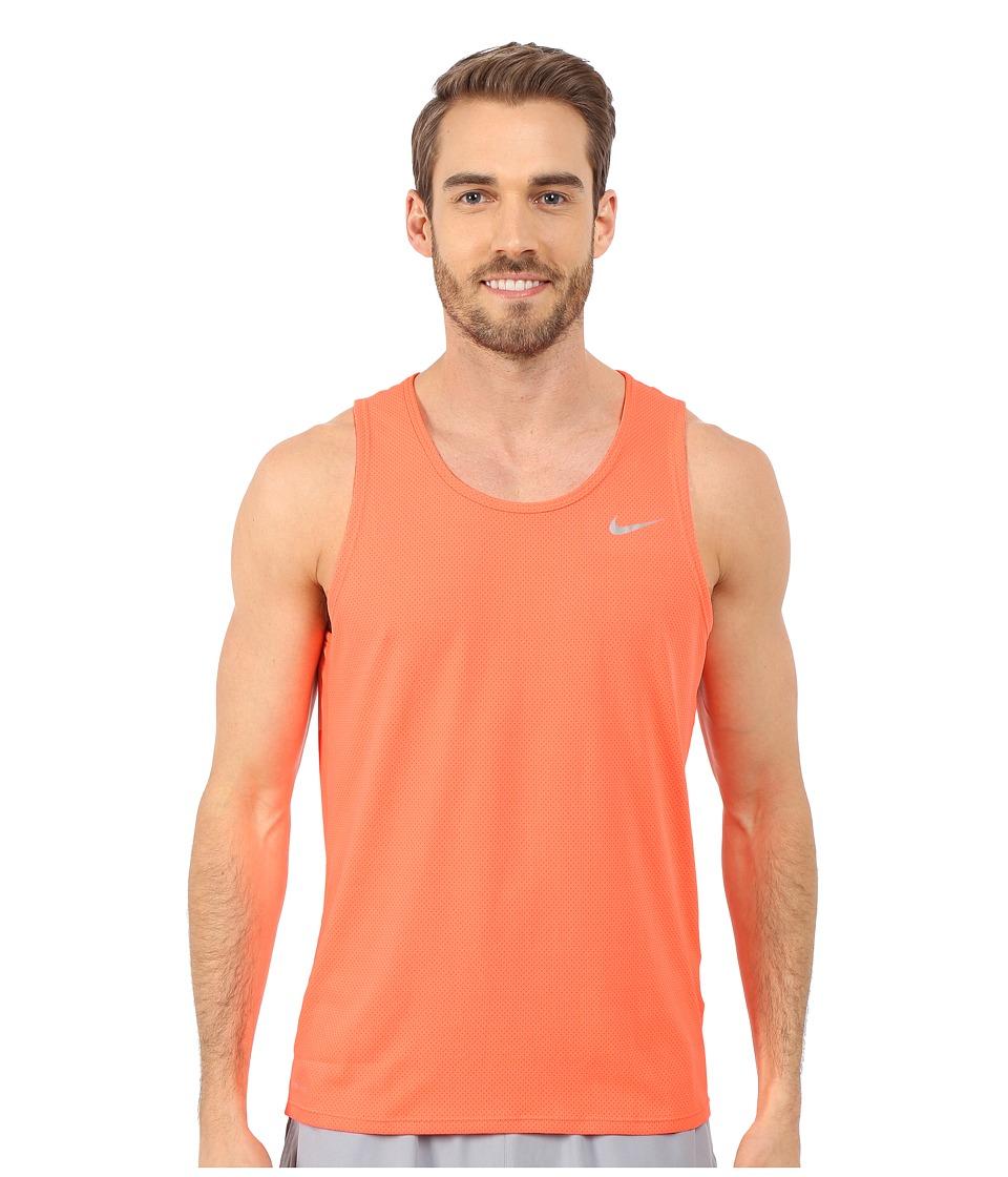 Nike - Dri-FIT Contour Running Singlet (Hyper Orange/Reflective Silver) Men's Workout