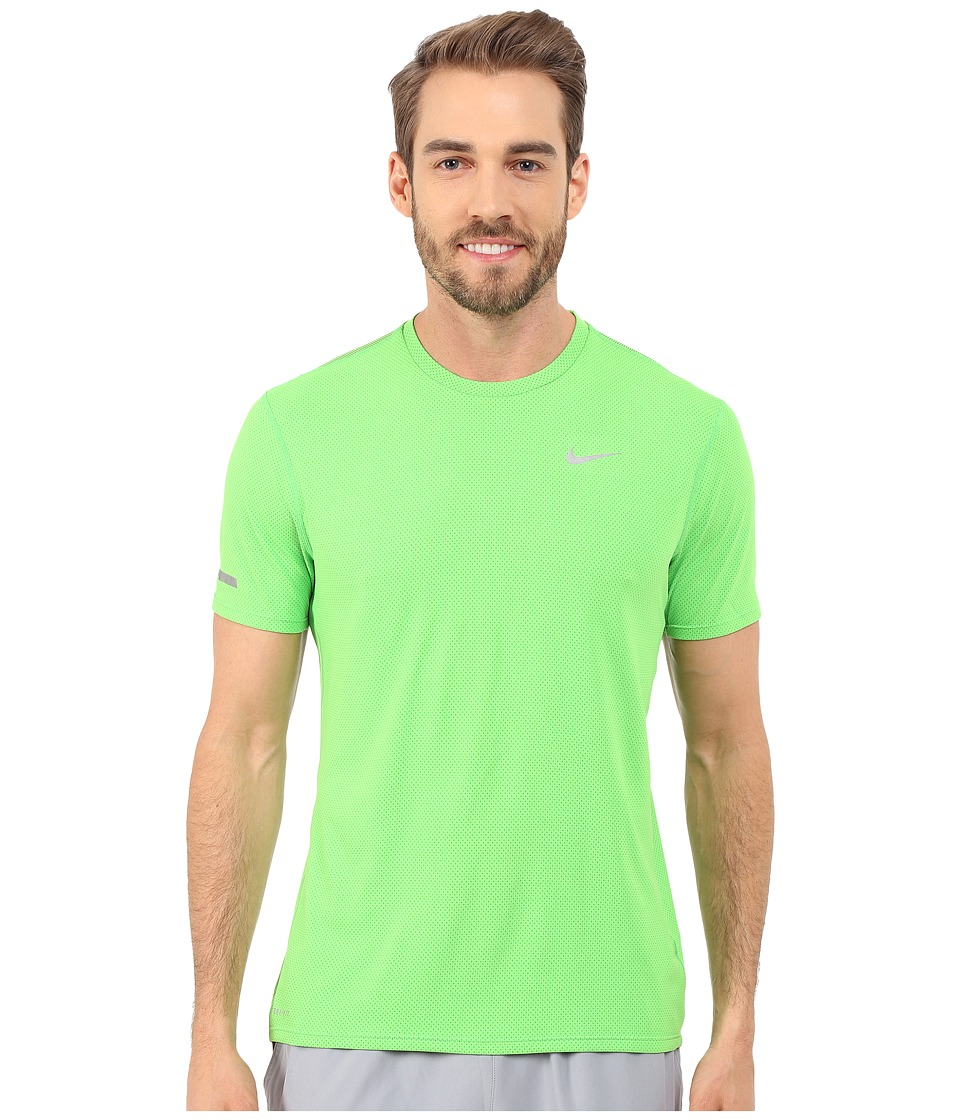 Nike - Dri-FIT Contour S/S Running Shirt (Green Pulse/Reflective Silver) Men