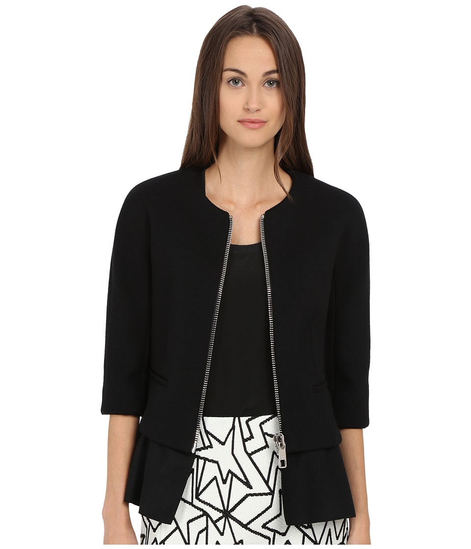 Neil Barrett - Mixed Fabrics Round Neck Jacket (Black) Women's Jacket