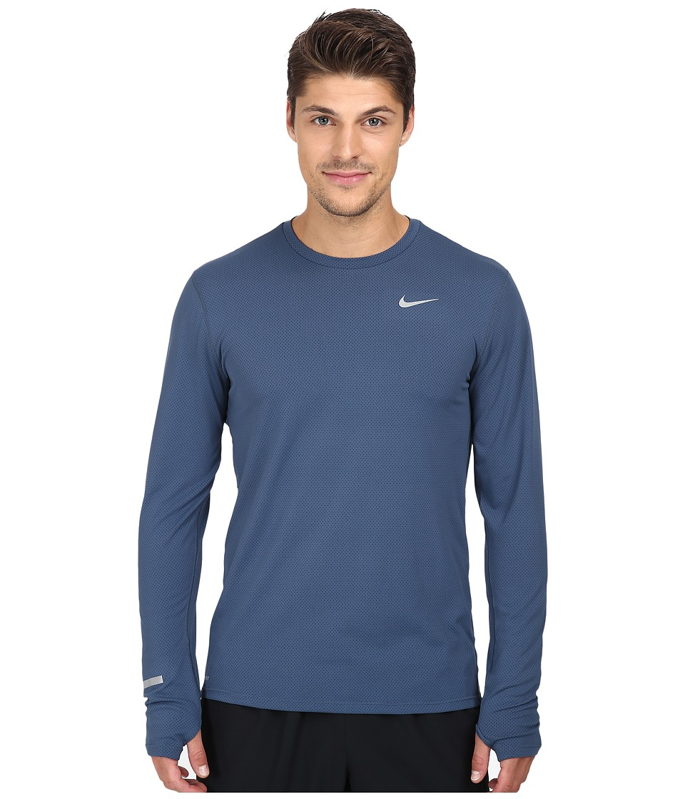 Nike - Dri-Fit Contour L/S Shirt (Squadron Blue/Reflective Silver) Men's T Shirt