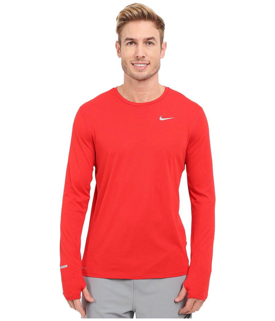 Nike Dri-FITtm Contour L/S Running Shirt (University Red/Reflective Silver) Men