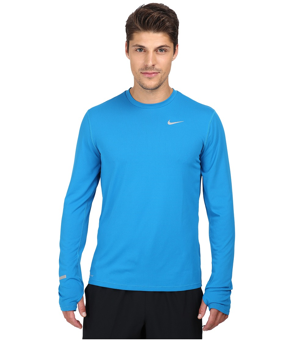 Nike Dri-FITtm Contour L/S Running Shirt (Imperial Blue/Reflective Silver) Men
