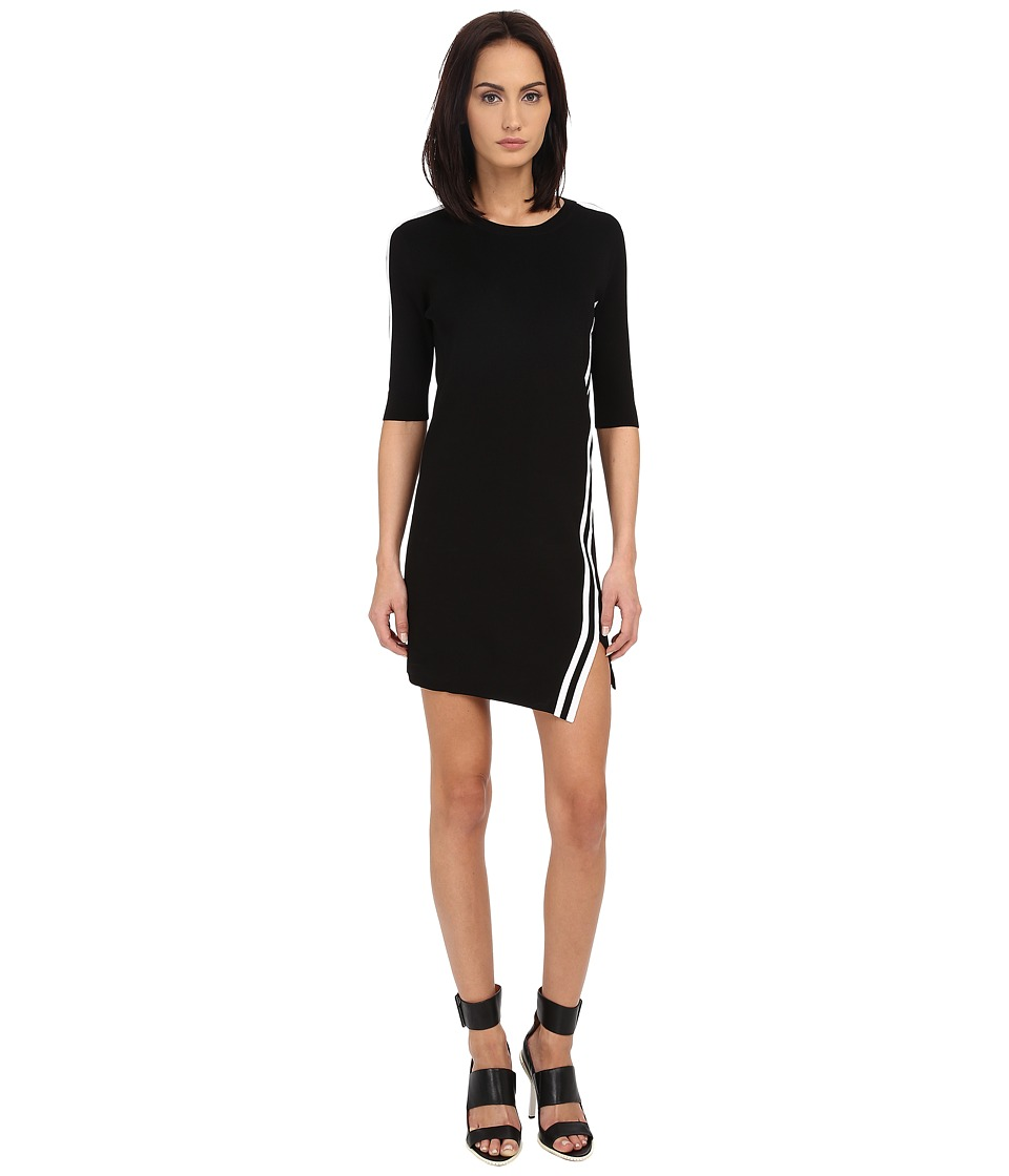 Neil Barrett - Stripes Asymmetric Dress (Black) Women's Dress