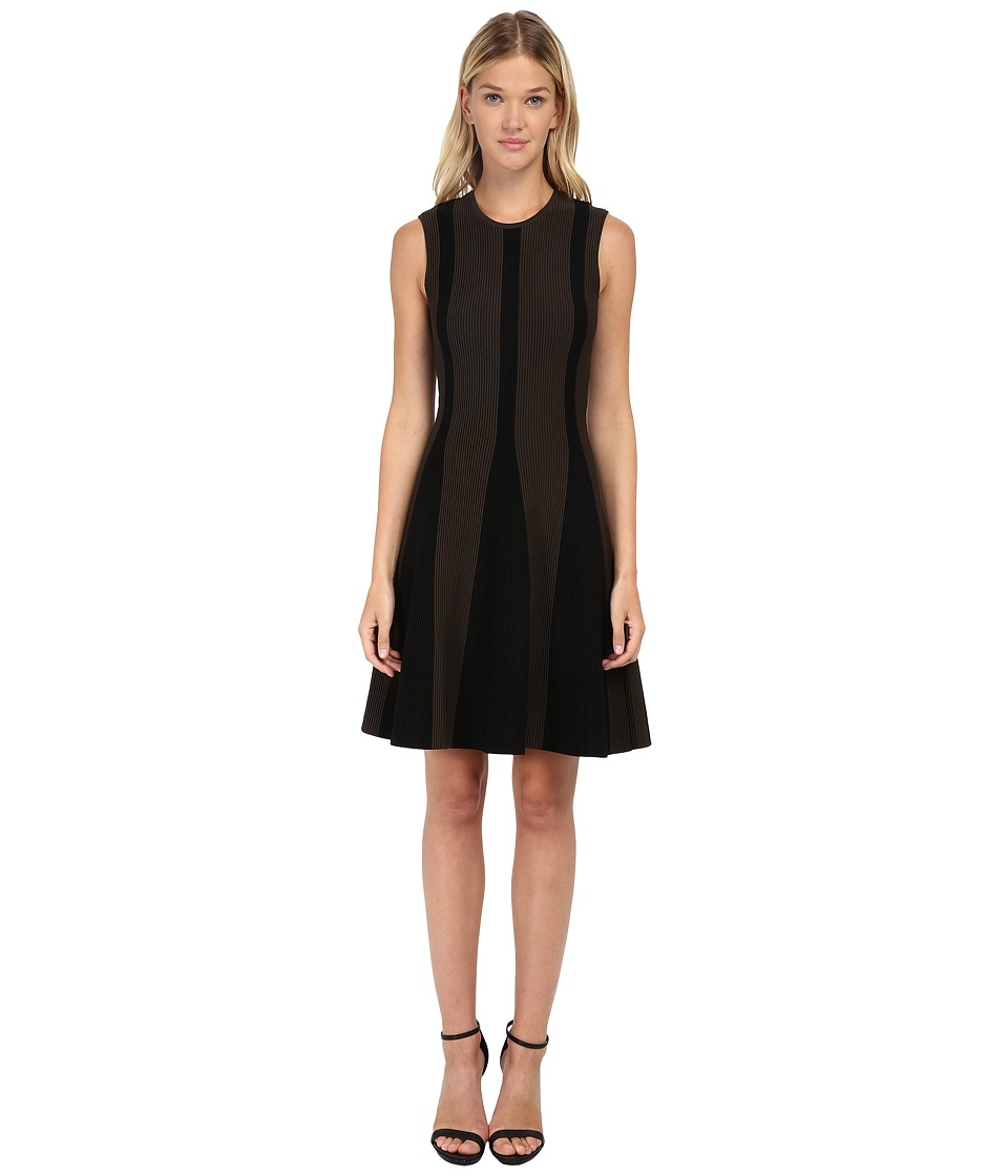 Neil Barrett - Flared Bicolour Dress (Military/Black) Women's Dress