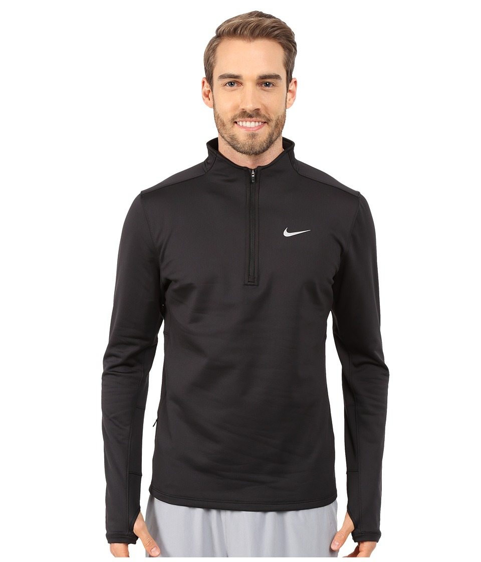 Nike - Dri-FIT Thermal Half-Zip (Black/Black/Black/Reflective Silver) Men's Workout