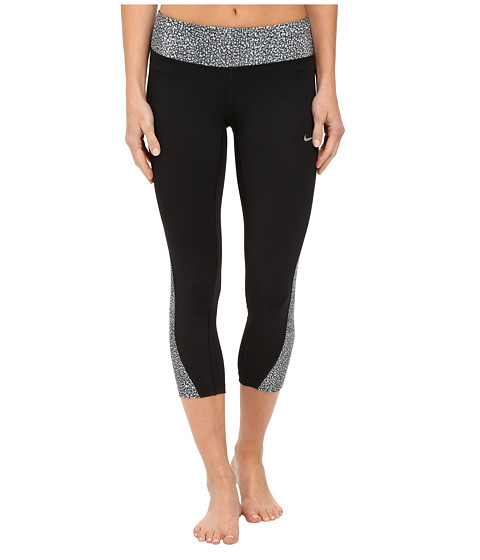 Nike - Printed Racer Crop 2.0 (Black/Cool Grey/Reflective Silver) Women's Capri