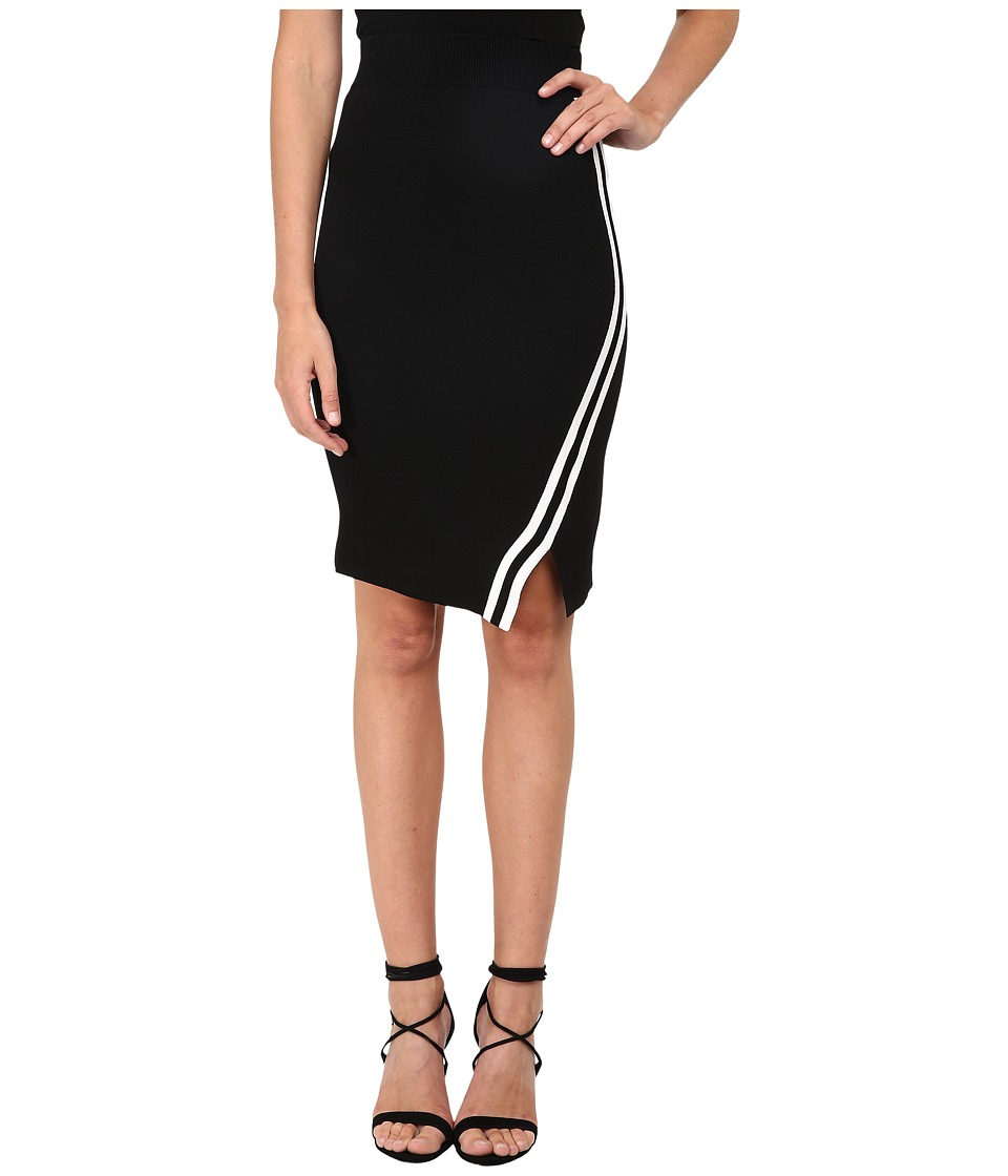 Neil Barrett - Stripes Asymmetric Tube Skirt (Black) Women's Skirt