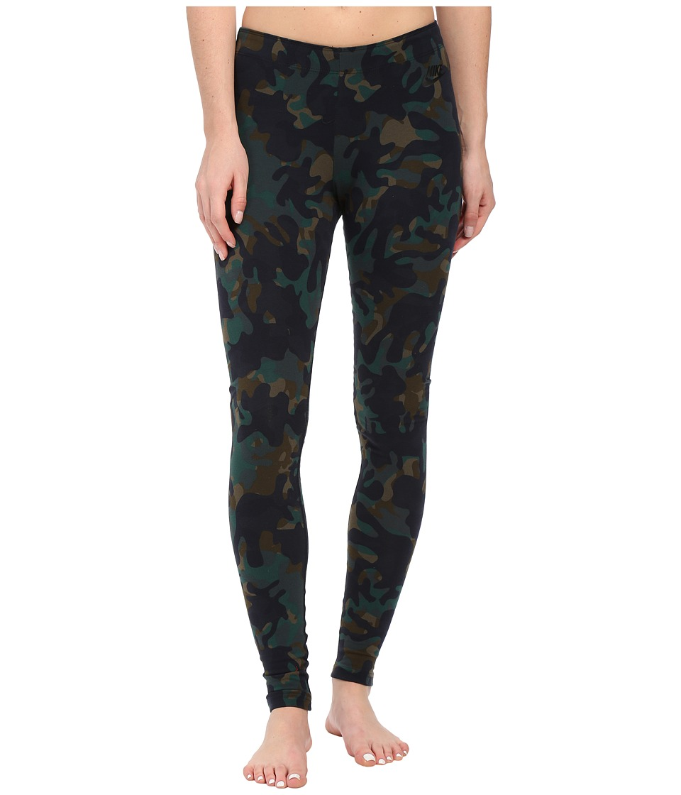 Nike - Leg-A-See Printed Legging (Cargo Khaki/Black) Women's Casual Pants