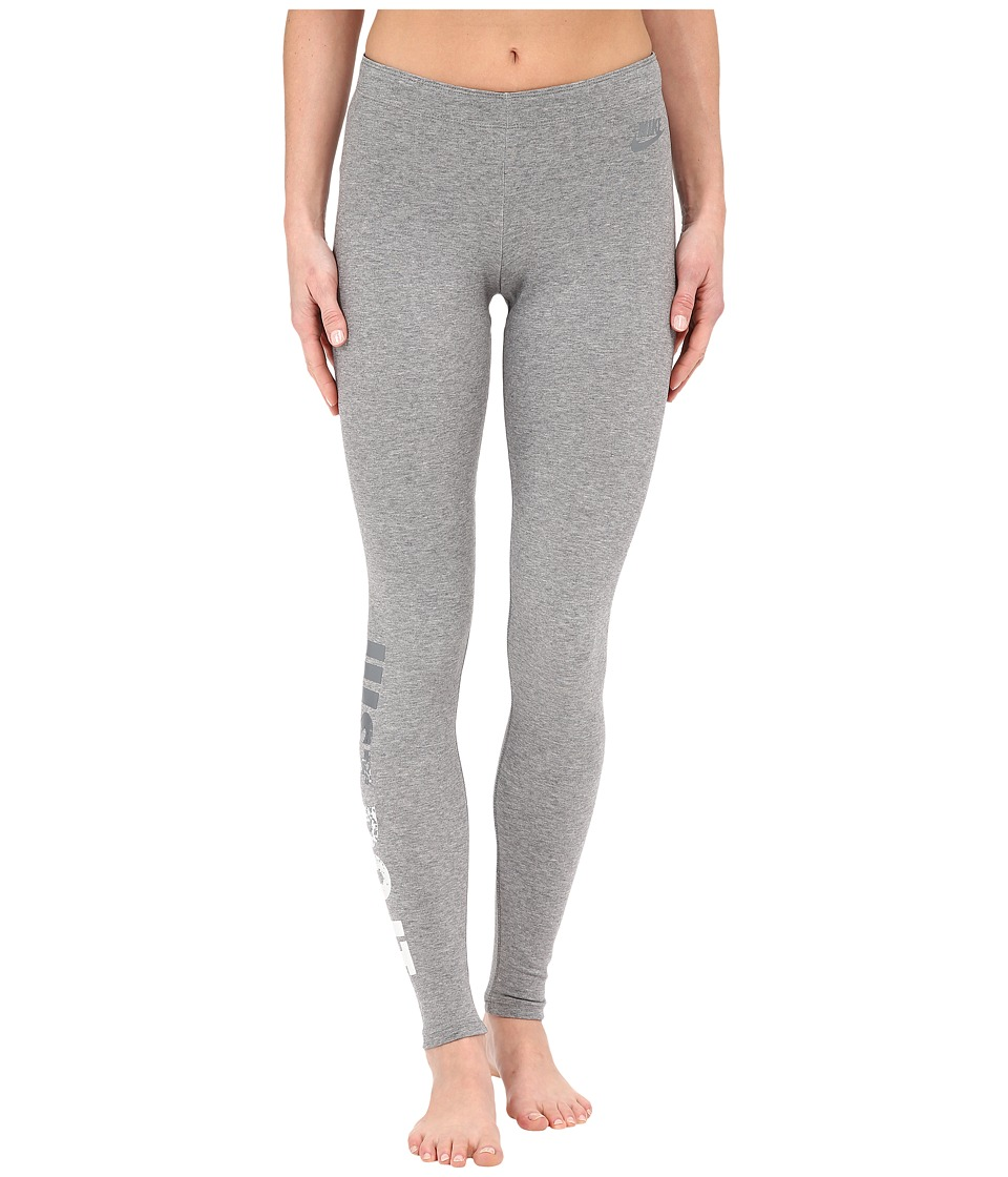 Nike - Leggings-A-See Just Do It Metal (Carbon Heather) Women's Casual Pants