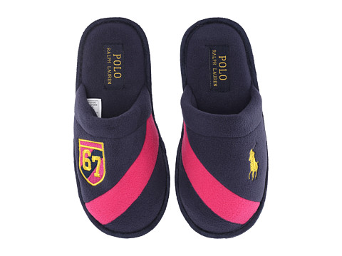 Polo Ralph Lauren Kids - Rugby Crest Scuff (Big Kid) (Navy Fleece/Fuchsia) Kid