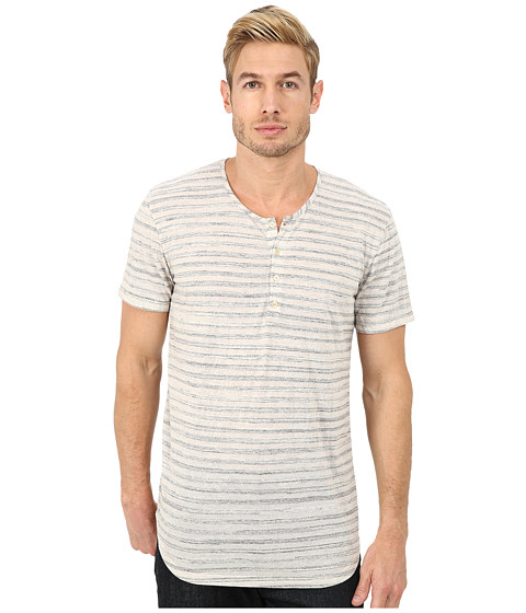 7 For All Mankind - Short Sleeve Stripe Henley (White Stripe) Men's T Shirt