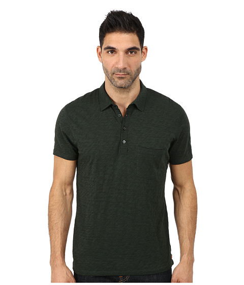 7 For All Mankind - Raw Placket Polo (Dark Emerald) Men's Short Sleeve Pullover