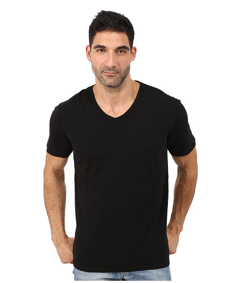 7 For All Mankind - Short Sleeve Raw V-Neck (Black) Men's Clothing