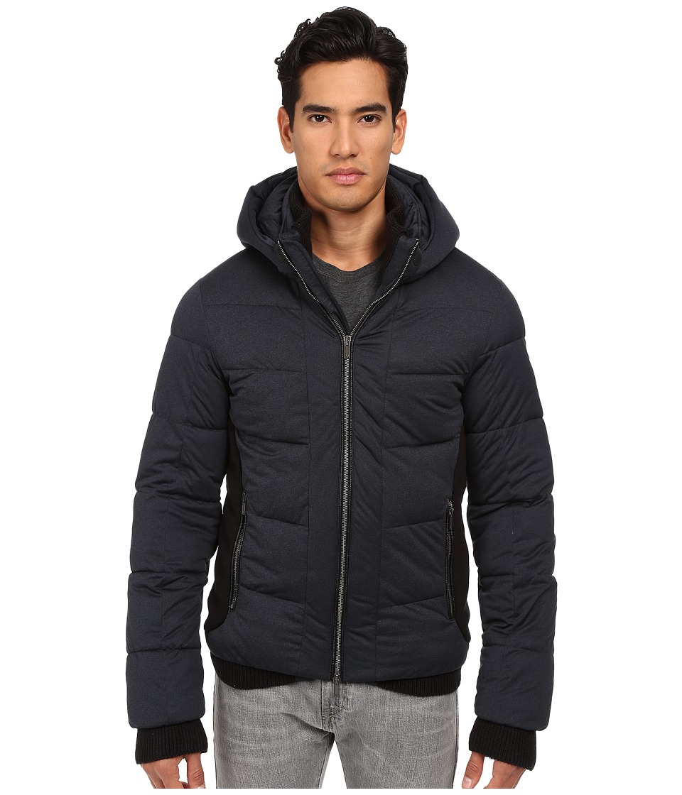 Armani Jeans - Stretch Nylon Puffer Jacket with Built-In Mittens (Blue Melange) Men's Coat