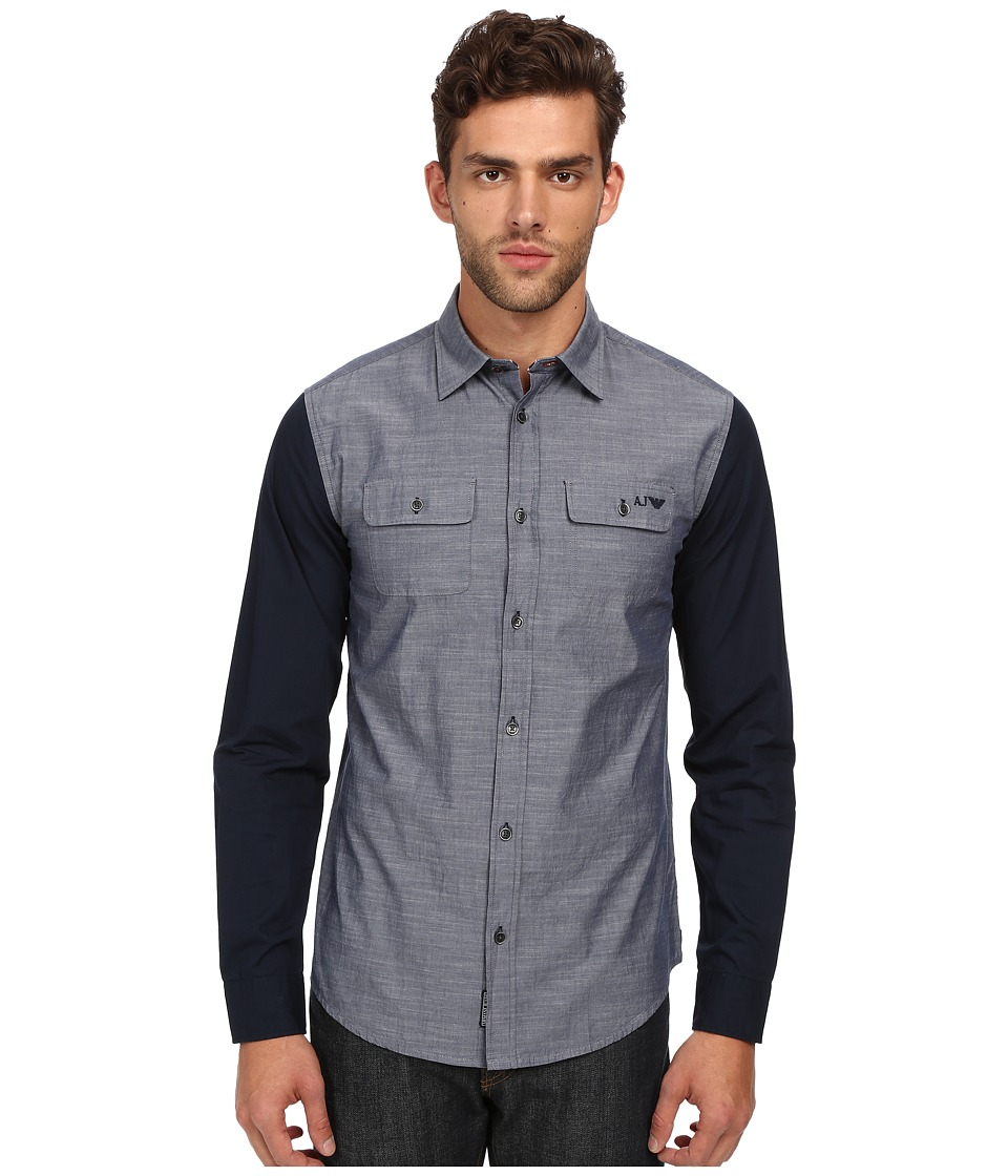 Armani Jeans - Bi-Color Shirt Long Sleeve (Denim) Men's Long Sleeve Button Up
