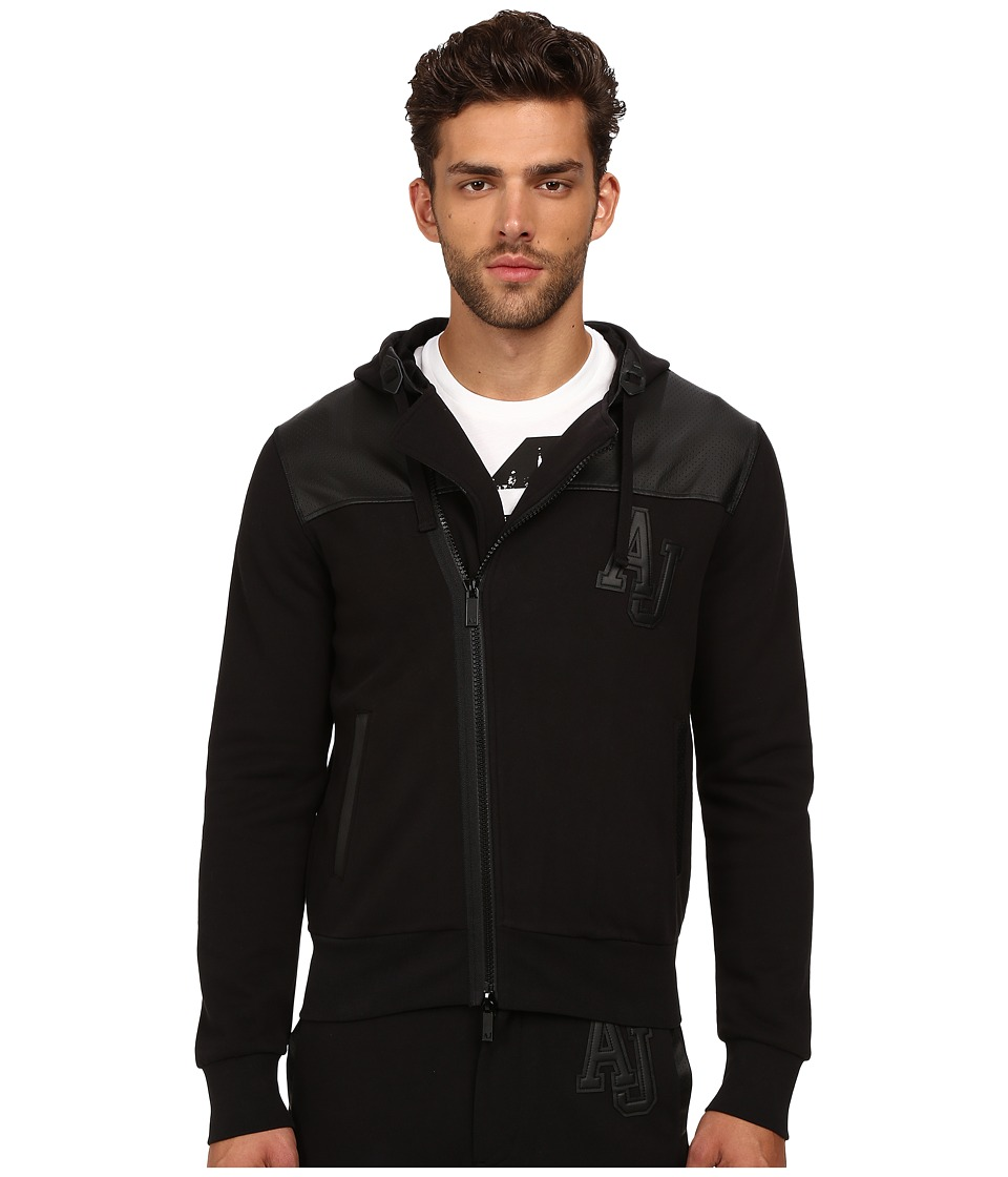 Armani Jeans - Poly/Cotton Fleece + Perforated Eco Leather Zip Track Top (Black) Men's Sweater