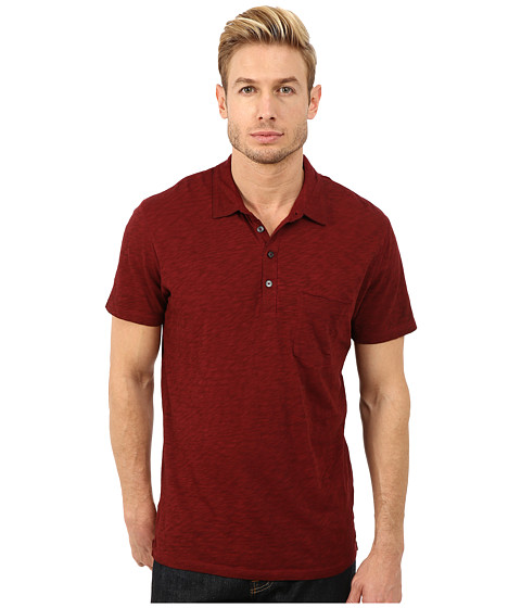 7 For All Mankind - Raw Placket Polo (Dark Crimson) Men's Short Sleeve Pullover