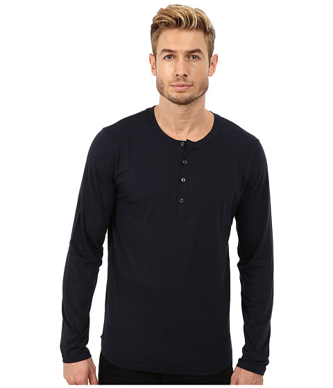 7 For All Mankind - Long Sleeve Henley (Midnight Navy) Men's Clothing