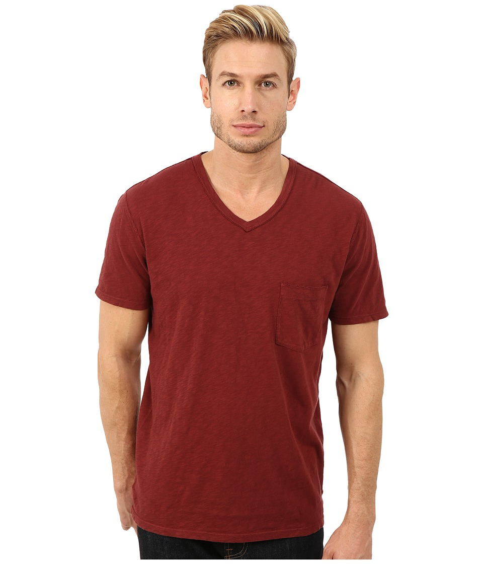 7 For All Mankind - Short Sleeve Raw V-Neck (Crimson) Men's Clothing