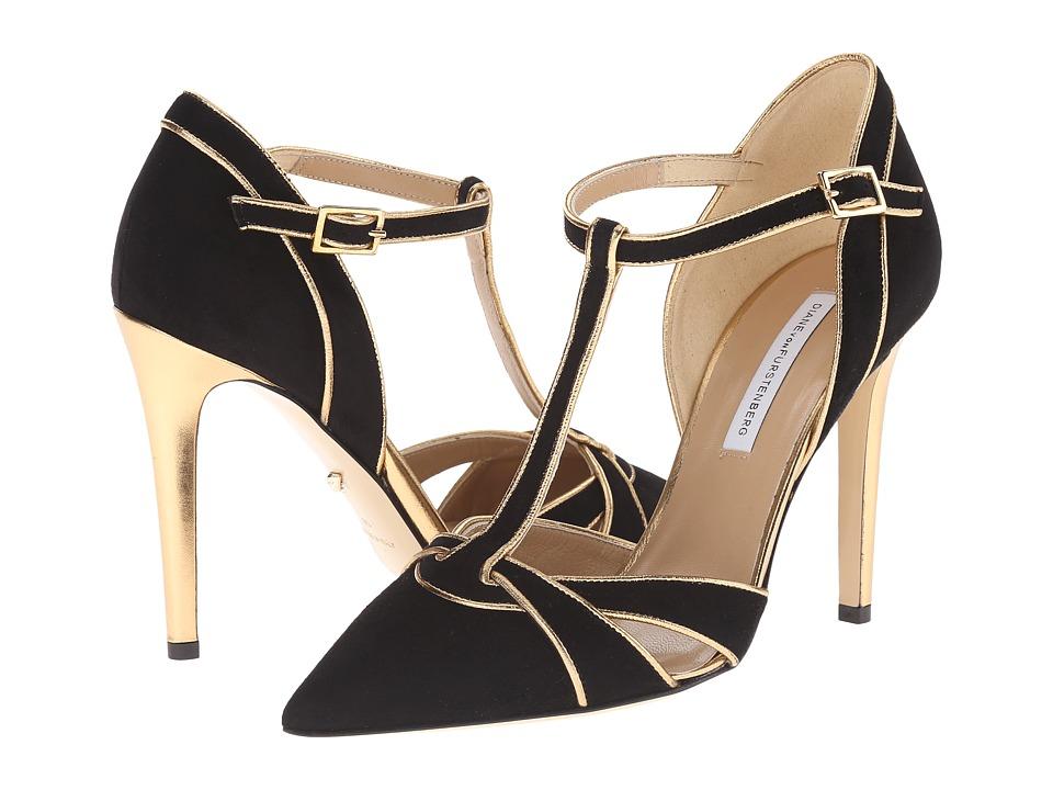 Diane von Furstenberg - Baylee (Black Kid Suede/Gold Metallic Nappa) Women's Shoes