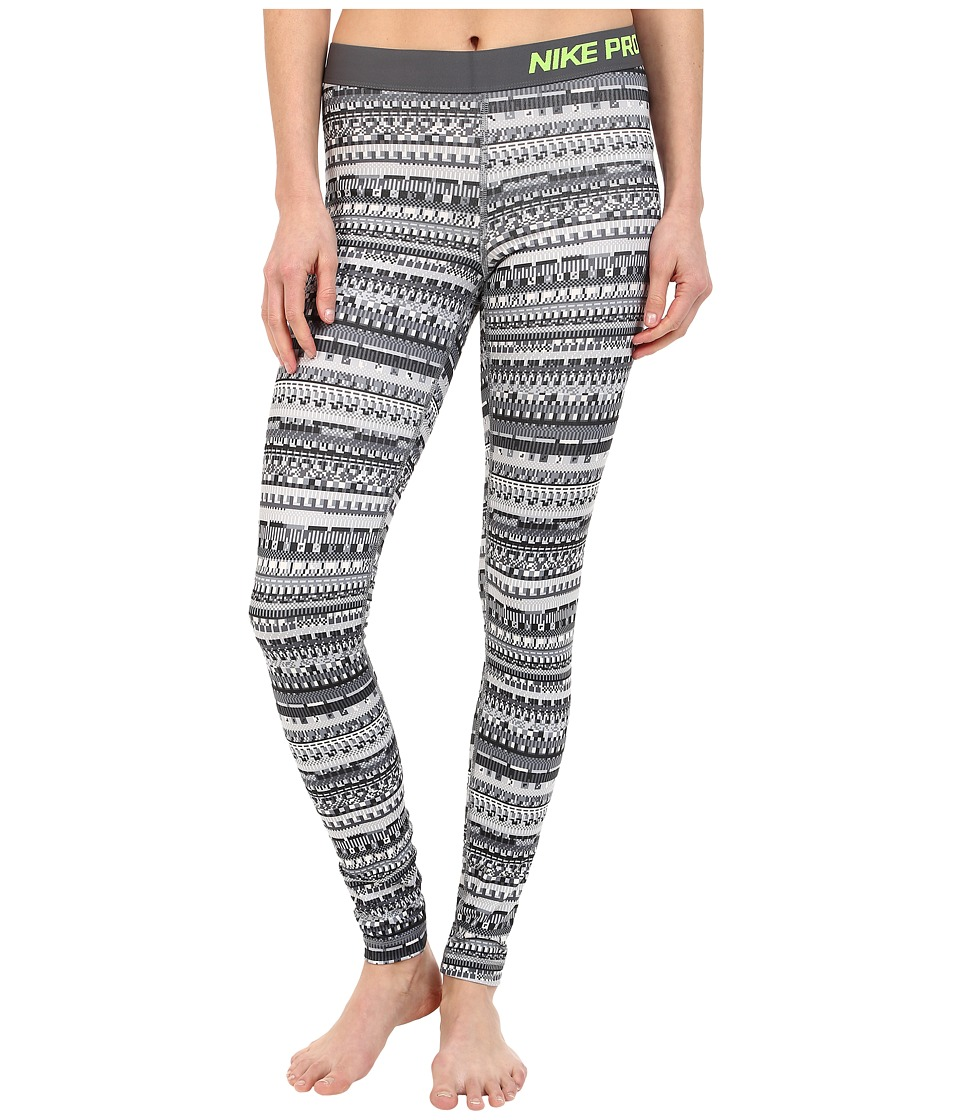 Nike - Pro Warm 8 Bit Tights (Cool Grey/Black/Cool Grey/Volt) Women's Clothing