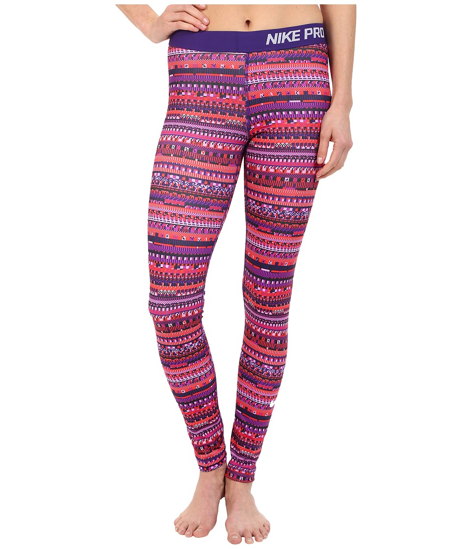 Nike - Pro Warm 8 Bit Tights (Light Crimson/Black/Court Purple/White) Women's Clothing