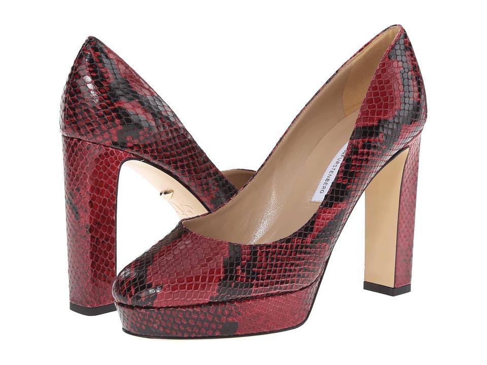 Diane von Furstenberg Michelle (Oxblood Embossed Python) High Heels