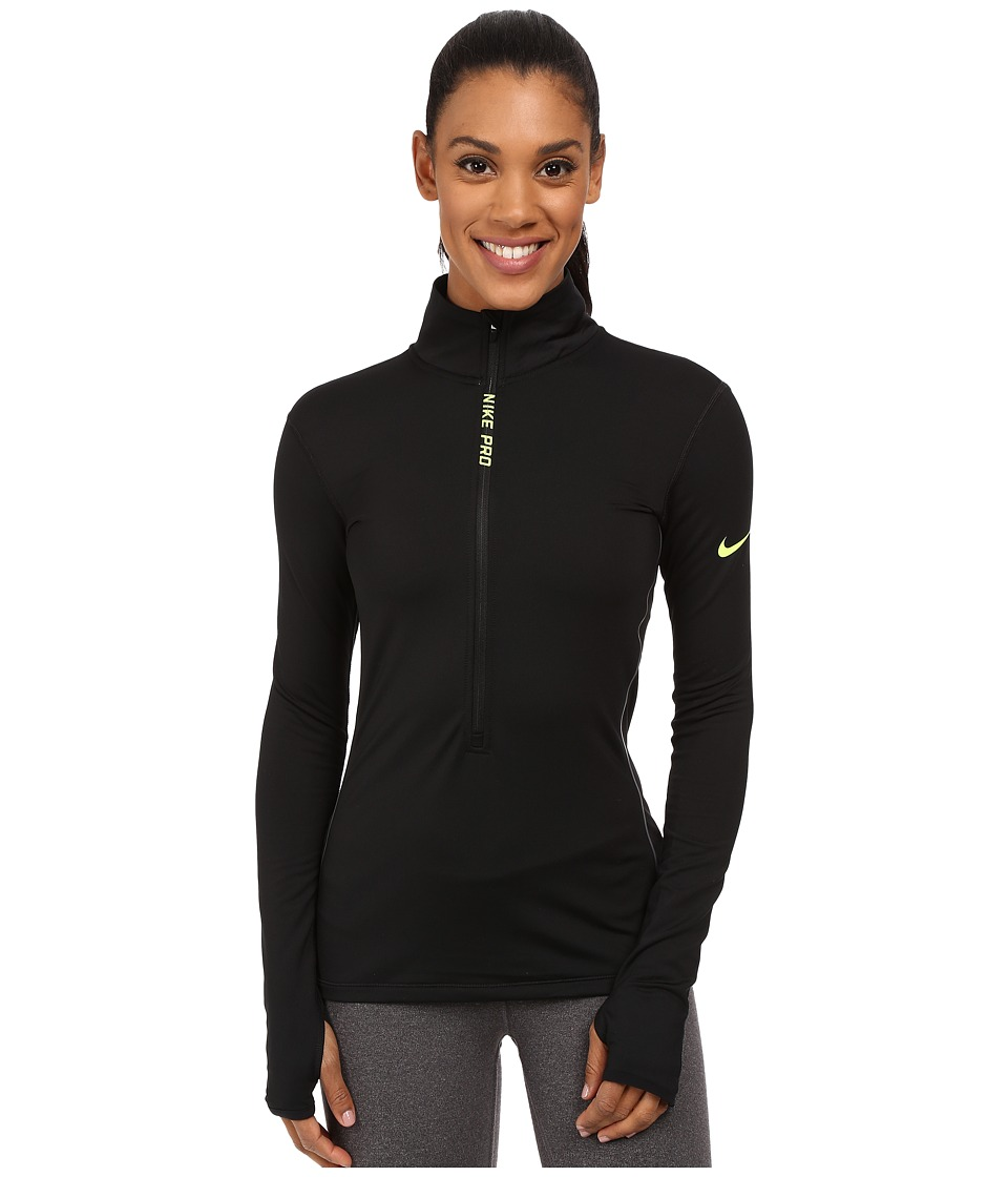 Nike - Pro Hyperwarm Half Zip (Black/Cool Grey/Volt) Women's Long Sleeve Pullover