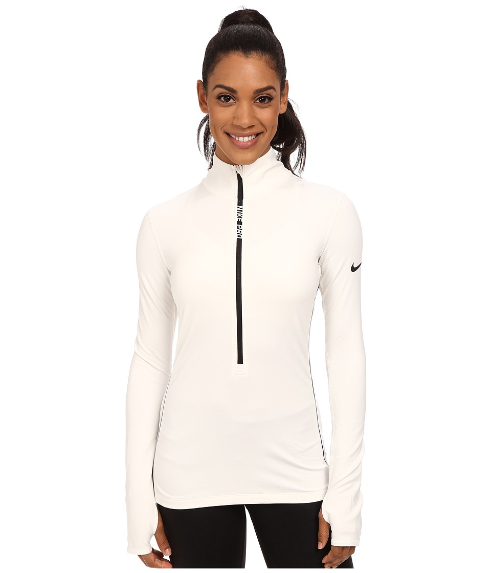 Nike - Pro Hyperwarm Half Zip (Ivory/Black) Women's Long Sleeve Pullover