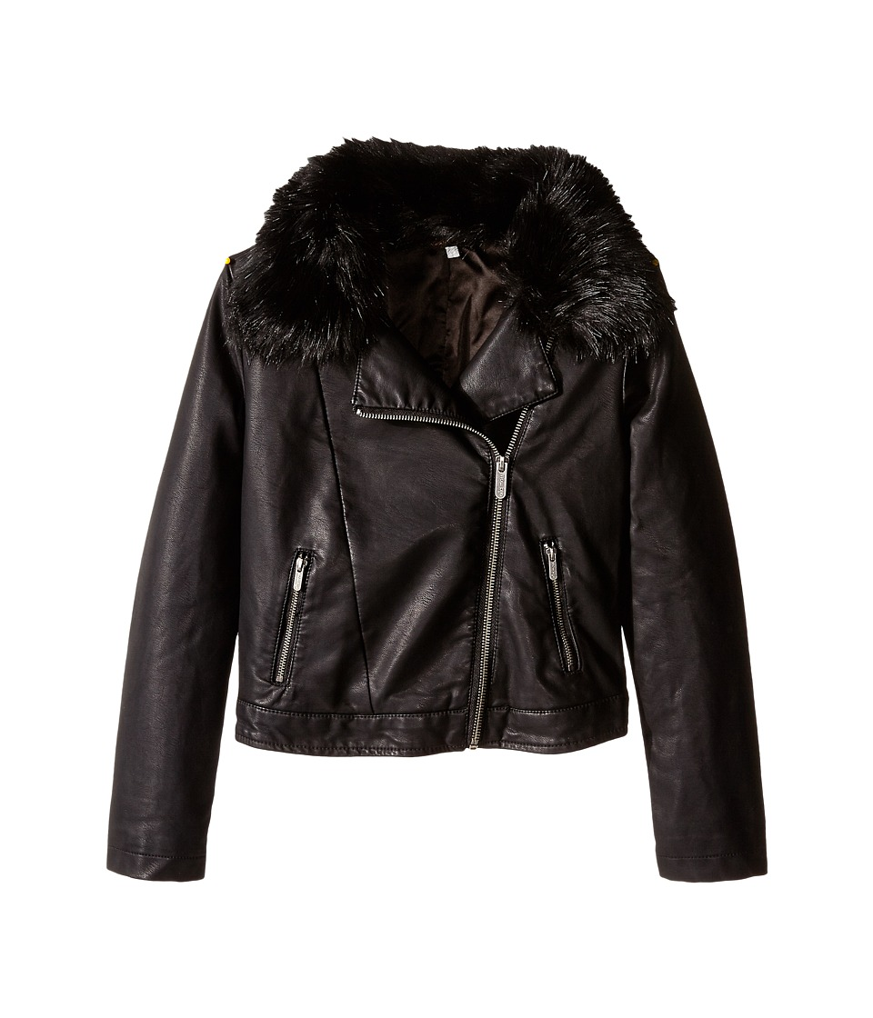 Ella Moss Girl - Kelly Faux Fur Jacket (Big Kids) (Black) Girl's Coat