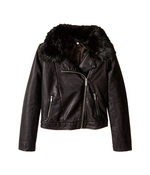 Ella Moss Girl - Kelly Faux Fur Jacket (Big Kids) (Black) Girl
