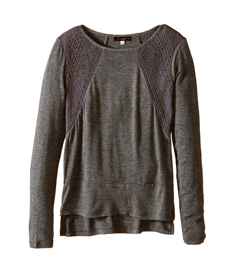 Ella Moss Girl - Anita Knit Top (Big Kids) (Charcoal Grey) Girl's T Shirt