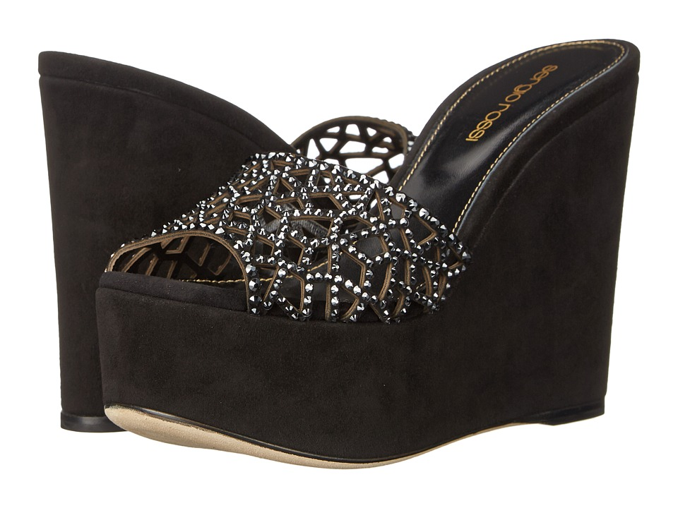Sergio Rossi - Tresor Wedge (Black) Women's Wedge Shoes