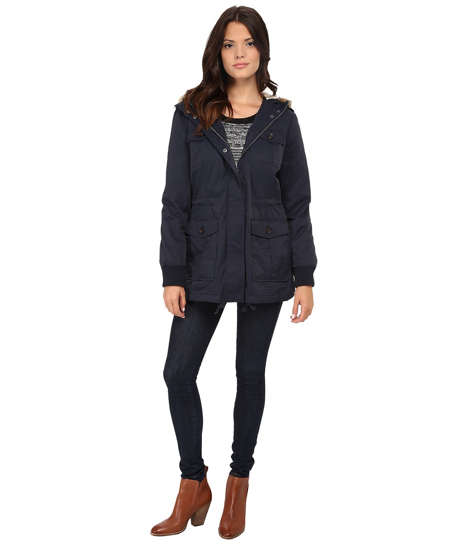 Levi's(r) - Coated Cotton Four-Pocket Hooded Parka (Navy) Women's Coat