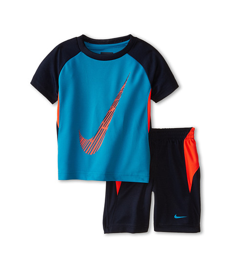 Nike Kids - Block Poly Tricot Short Sleeve Shorts Set (Toddler) (Obsidian) Boy