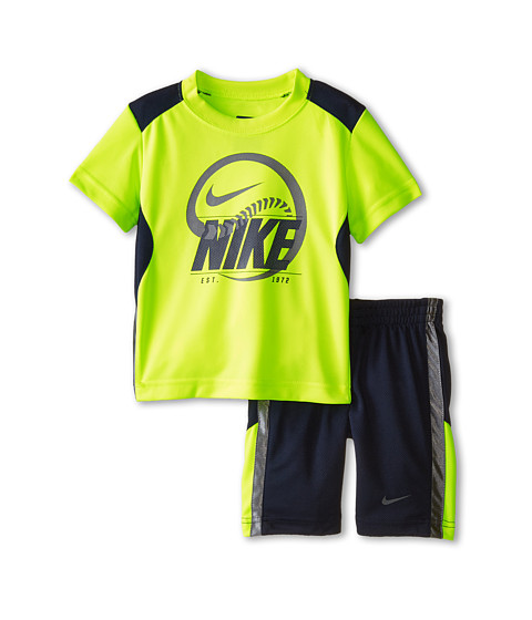 Nike Kids - Just Do It Poly Short Sleeve Shorts Set (Toddler) (Obsidian) Boy