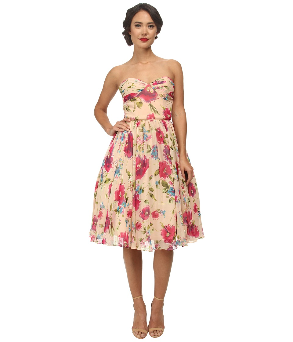 Unique Vintage - Dandridge Swing Dress (Peach Floral Print) Women's Dress