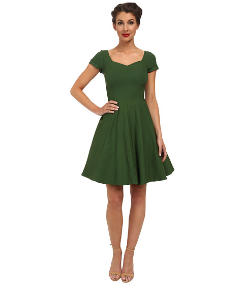 Unique Vintage - Short Sleeve Grace Dress (Green) Women