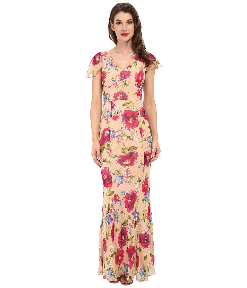 Unique Vintage - Bergman Maxi Dress (Peach Floral Print) Women's Dress