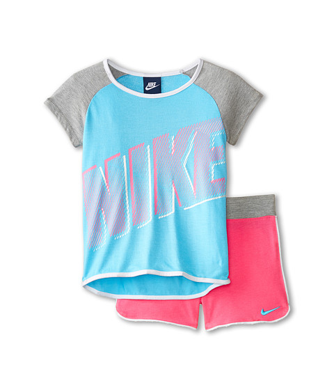 Nike Kids - Pocket Hi-Lo Short Sleeve Shorts Set (Little Kids) (Pinksicle) Girl