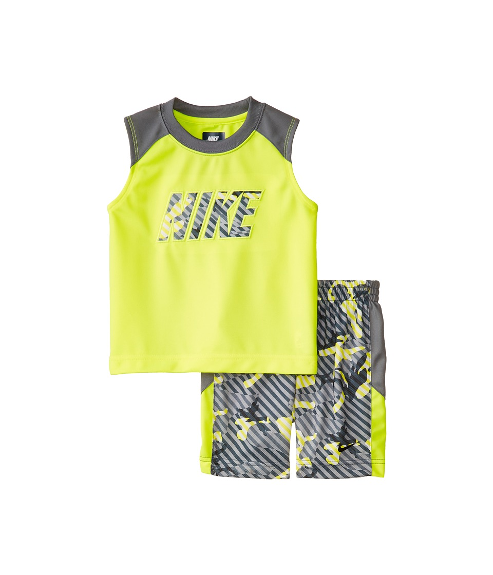 Nike Kids - Aop Poly Mesh Sleeveless Shorts Set (Little Kids) (Volt) Boy's Active Sets
