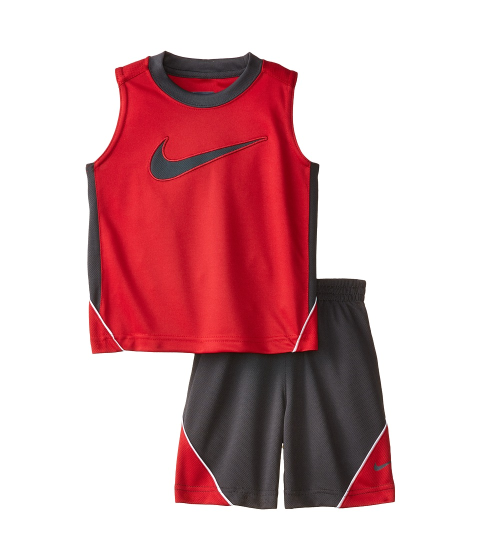 Nike Kids - Swoosh Poly Sleeves Shorts Set (Little Kids) (Anthracite) Boy's Active Sets